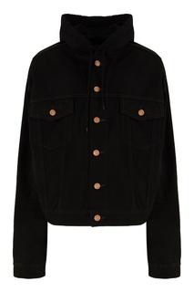 Черная куртка из денима с капюшоном Balenciaga