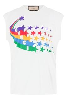 Белая футболка с разноцветным принтом Gucci