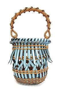 Голубая плетеная сумка-ведро Small Fringes Loewe