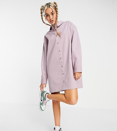 Розовато-лиловое платье-рубашка мини из твила в стиле oversized COLLUSION-Розовый цвет