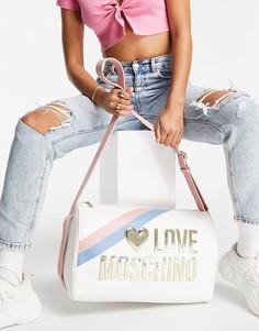 Белая сумка для путешествий с большим логотипом Love Moschino-Белый