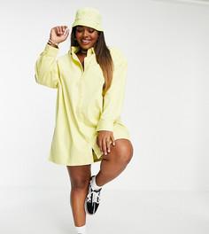Желтое платье-рубашка мини из твила в стиле oversized COLLUSION Plus-Желтый