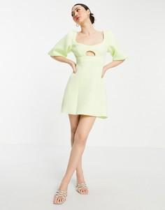Платье мини лаймового цвета с объемными рукавами и декоративным вырезом ASOS DESIGN-Зеленый цвет