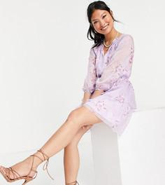 Сиреневое мини-платье с завязкой и цветочным принтом Parisian Petite-Фиолетовый цвет