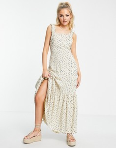 Фактурное платье макси с баской, завязками сзади и мелким цветочным принтом ASOS DESIGN-Многоцветный