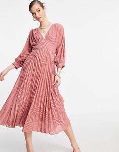 Плиссированное платье миди с узором шеврон рукавами «летучая мышь» цвета чайной розы ASOS DESIGN-Розовый цвет