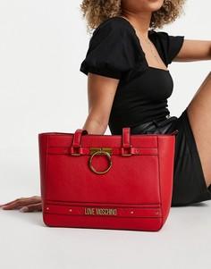 Красная сумка-тоут с логотипом Love Moschino-Красный