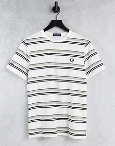 Белая футболка в двойную полоску Fred Perry-Белый