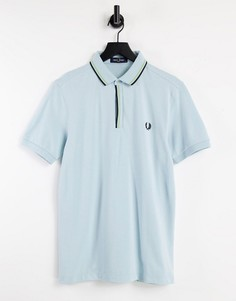 Светло-голубая футболка-поло с окантовкой на планке Fred Perry-Голубой