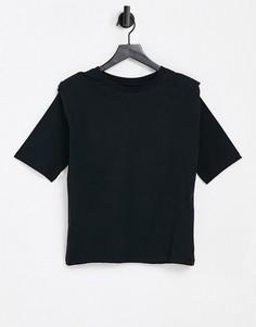 Черная трикотажная футболка с подплечниками Selected-Черный цвет