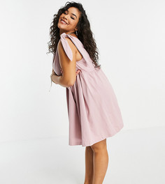 Розовое платье мини с присборенной юбкой и завязками на плечах ASOS DESIGN Curve-Розовый цвет