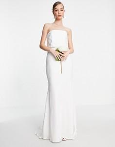Атласное свадебное платье-бандо ASOS EDITION Evelyn-Белый