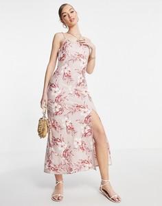 Льняное платье макси на бретельках с тропическим принтом розового цвета ASOS DESIGN-Многоцветный
