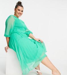Изумрудно-зеленое платье миди со складками и с плиссировкой из ткани добби ASOS DESIGN Curve-Зеленый цвет
