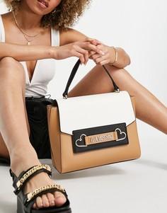 Светло-коричневая сумка через плечо с ручками сверху Love Moschino-Коричневый цвет