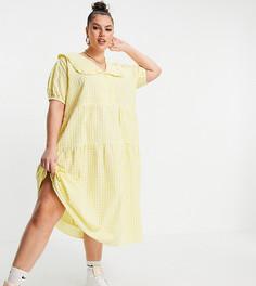 Платье миди в клетку с присборенной ярусной юбкой и большим воротником Neon Rose Plus-Желтый