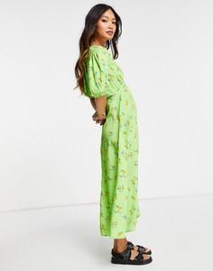 Чайное платье миди с объемными рукавами, разрезом спереди и ярким цветочным принтом Neon Rose-Зеленый цвет
