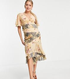 Платье миди со вставками с комбинированными цветочными принтами и кружевной отделкой ASOS DESIGN Maternity-Многоцветный
