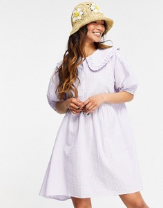 Платье мини в пастельную клетку с присборенной юбкой и воротником Neon Rose-Фиолетовый цвет