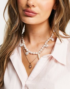 Золотистое ожерелье в несколько рядов с розовыми жемчужинами и подвеской в виде цветка ASOS DESIGN-Золотистый