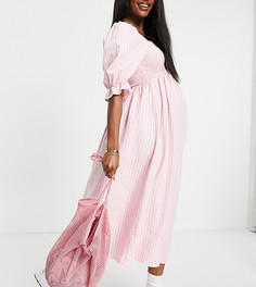 Розовое платье миди из фактурного жатого материала в клетку с рукавами 3/4 New Look Maternity-Розовый цвет