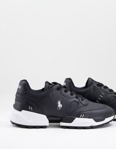 Черные кожаные кроссовки для бега с фирменным логотипом в виде игрока в поло Polo Ralph Lauren-Черный цвет