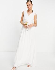 Белое свадебное платье макси с V-образным вырезом Little Mistress-Белый
