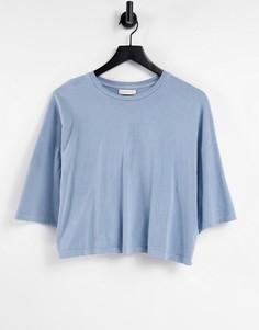 Голубая выбеленная футболка прямого кроя Topshop-Голубой