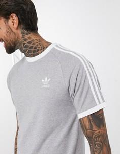 Серая футболка с тремя полосками adidas Originals adicolor-Темно-синий