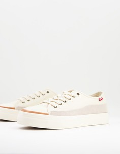 Кремовые кроссовки с замшевыми вставками и маленьким логотипом Levis-Белый