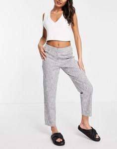 Серые классические брюки прямого кроя Selected Femme-Белый