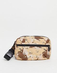 Бежевая сумка-кошелек на пояс с камуфляжным принтом и логотипом Karl Kani-Коричневый цвет