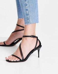Черные босоножки с ремешками на высоком каблуке Topshop Neela-Черный цвет