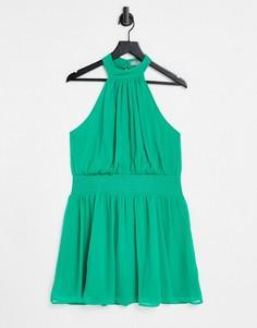 Мягкое нефритово-зеленое платье мини с высоким воротом и присборенной талией ASOS DESIGN-Multi