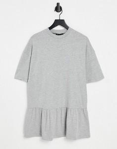 Серое меланжевое платье-футболка в стиле oversized с оборкой внизу ASOS DESIGN-Серый
