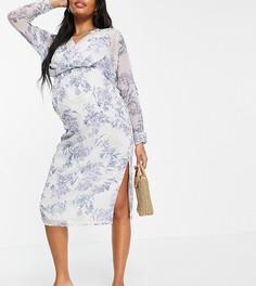 Свободное платье миди спышными рукавами наманжете и цветочным принтом ASOS DESIGN Maternity-Multi