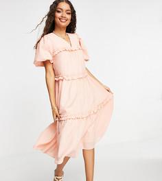 Ярусное креповое платье миди персикового цвета с рукавами-фонариками Y.A.S Petite-Розовый цвет