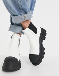 Белые контрастные ботинки челси на массивной подошве Bershka-Белый