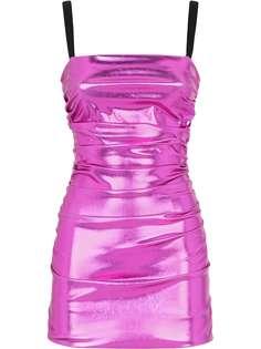 Dolce & Gabbana платье мини со сборками и эффектом металлик