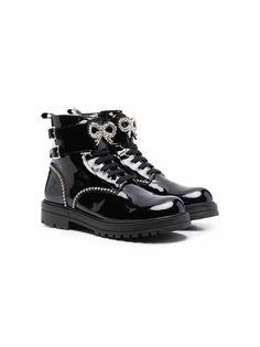 Monnalisa лакированные ботинки с кристаллами
