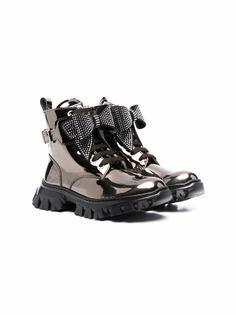 Monnalisa массивные ботинки с эффектом металлик и бантом