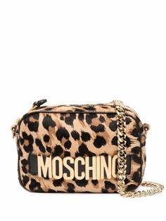 Moschino каркасная сумка с леопардовым принтом