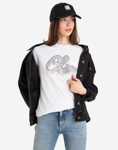 Белая футболка oversize со стразами Gloria Jeans