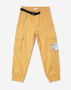Бежевые брюки-джоггеры с нашивкой Keep ready и поясом для мальчика Gloria Jeans