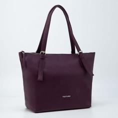Сумка-шопер, отдел на молнии, наружный карман, цвет бордовый Textura