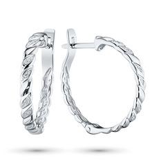 Серьги из серебра с бриллиантом э0601сг08181000 ЭПЛ Якутские Бриллианты