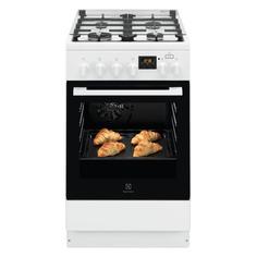 Газовая плита ELECTROLUX RKK560200W, электрическая духовка, стеклянная крышка, белый и черный