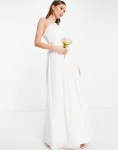 Белое свадебное платье макси на одно плечо Little Mistress-Белый