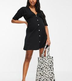 Черное чайное платье с роговыми пуговицами ASOS DESIGN Maternity-Черный цвет