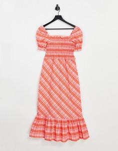 Красное платье миди в клетку Topshop-Красный
